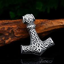 beier snless steel thor s hammer mjolnir pendant necklace viking scandinavian norse man punk rock vine jewelry