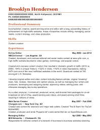 Nbcuniversal Online Editor Resume Sample North Hollywood
