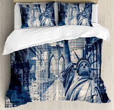 united states duvet cover set double exposure image of statue of liberty with new york buildings decorative bedding set with pillow shams dark blue