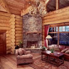 Living Room:Small Log Living Room With Natural Corner Fireplace Log Home Cabin  Living Room