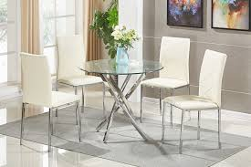 glass round dining table set and chairs modern chrome sets for white kitchen bench room furniture s chair narrow piece oak breakfast wood