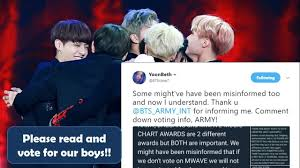 Correction About Bts Daesang And Mwave Music Chart Awards Voting Bts News