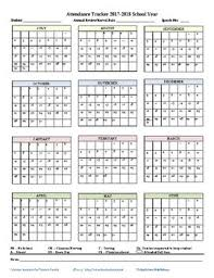 Attendence Tracker Monthly Attendance Tracker 2017 2018