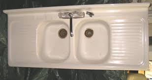 vintage double bowl kitchen sink with drainboard kitchen sink