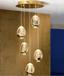 led glass ball pendant with 5 lights