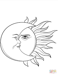 Small Picture Sun and Moon coloring page Free Printable Coloring Pages