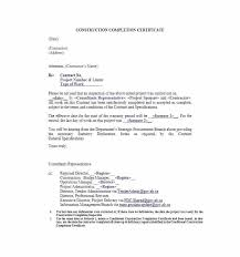 Construction Letter Of Completion Template