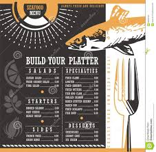 Abstract Menu Design Seafood Restaurant Menu Design Stock Vector Illustration