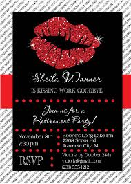 retirement invitation kissing work goodbye retirement party retirement invitation kissing work goodbye retirement party invite glitter lips invitations choose colors