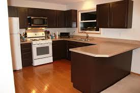 image of dark cabinet kitchens with white appliances design