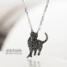 black diamond cat pendant necklace in