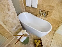 soaking tub in travertine wet room