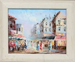 ine burnett oil on canvas street scene c