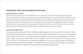 9 Bank Teller Job Description Templates Free Sample Example