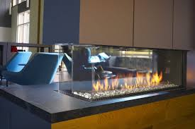 modern 3 sided fireplace with double glass technology