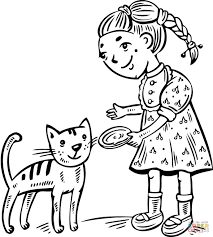 Girl Feeding Her Cat Coloring Page Free Printable Coloring Pages