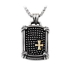 men s stainless steel dog tag pendant