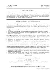Resume Templates For Retail Management Positions Resume For Study