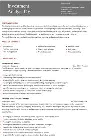Resume Template Examples Interesting A Professional Two Page Investment Analyst CV Example Al My