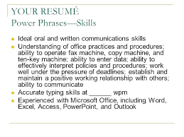 Resume power words and phrases