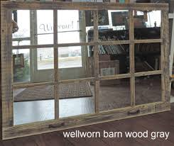 barn wood 12 pane window mirror rustic mantel or wall hanging large mirror 46x36