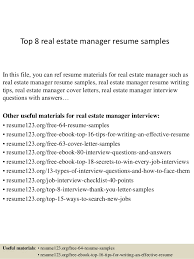 Top 8 real estate manager resume samples In this file, you can ref resume  materials ...