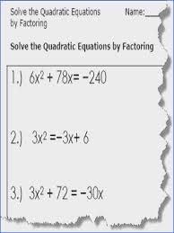quadratic equation worksheets printable pdf