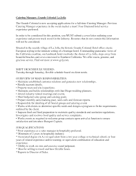Unique Ideas Catering Manager Resume Resume Sample Banquet Manager