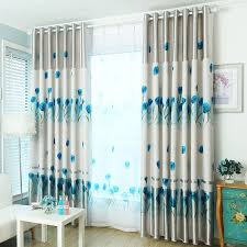 durable polyester fabric in gray color blue tulip fl pattern thermal curtains