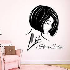 hair salon wall decals fashion girl hairdressing beauty salon wall decor scissors comb