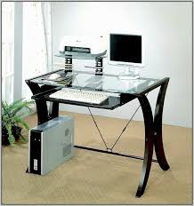glass top desk with keyboard tray new for residence puter pullout replacement of famous representation