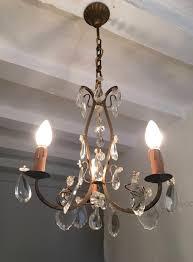 french brass chandelier 3 arm ceiling light crystal prisms la113742 loveantiques com