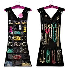 marcus mayfield hanging jewelry organizer closet storage with satin hanger 2 sided for jewelry hair accessories