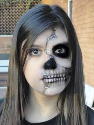 half face skull halloween makeup ideas