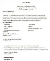 Assistant Teacher Resume Samples Teacher Resume Sample 37 Free Word Pdf Documents