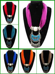 2016 newyork whole short neck jewelry scarf with alloy penda
