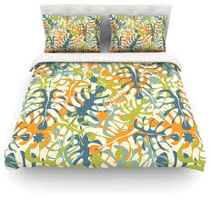 julia grifol summer tropical leaves green orange duvet cover cotton twin contemporary