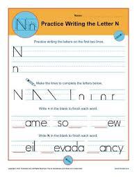 Practice Writing Letters Letter N Worksheets Printable Handwriting Worksheet
