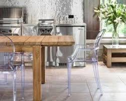 Wooden dining table and acrylic chairs pictures