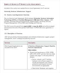 Free Sample Service Level Agreement Template For It Support Download ...