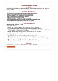 catering manager resume catering supervisor resume sample best format