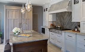 transitional kitchen ideas. Great Transitional Kitchen Design Ideas Brown Wooden Cabinet White Wall Mounted Smooth Gray Granite Backsplash