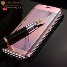 samsung galaxy s6 gold case. for samsung galaxy s6 edge plus case original translucent plated mirror smart view rose gold flip g
