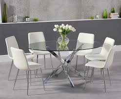 denver 165cm glass dining table with hamburg faux leather chrome leg chairs