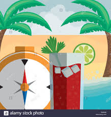 Gm Travel Design Compass Travel Guide With Cocktail Vector Illustration