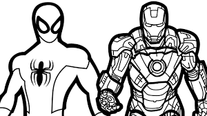 Small Picture Spiderman And Ironman Free Coloring Page Adults Iron Man