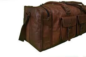 distressed 28 large vintage genuine tan leather duffle bag travel luggage over night bag