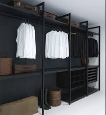 simple modern walk in closet comes with black color walk in closet and single hanging bars