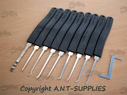 tension wrench. Nine Piece Black Handle Lock Picks With Tension Wrench I