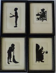 x black and white silhouettes depicting charles dickens 4 x black and white silhouettes depicting charles dickens characters oliver twist scrooge poo